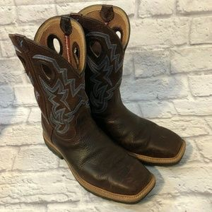 TWISTED X BROWN LEATHER STEEL TOE WESTERN BOOTS